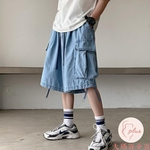 牛仔短褲男夏季外穿寬松直筒七分褲牛仔褲男【大碼百分百】