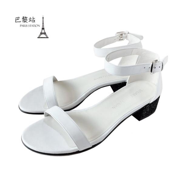 【巴黎站二手名牌專賣店】*全新現貨*Stuart Weitzman 真品*白色皮革低跟涼鞋(39號)