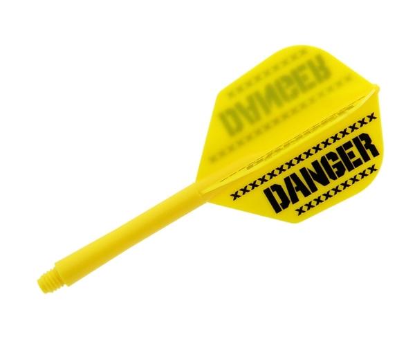 【Ptera Factory】Shaft一體型Flight Seamless Shape Medium DANGER Yellow 鏢翼 DARTS