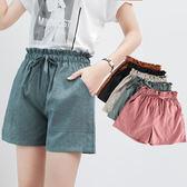 (限時79折)夏季花苞闊腿短褲女高腰百搭顯瘦運動休閒褲寬鬆學生沙灘系帶熱褲