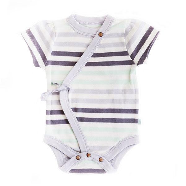 有機棉 包屁衣 哈衣 連身衣 Finn + Emma 短袖綁帶包屁衣Stripe款 G01-0200b