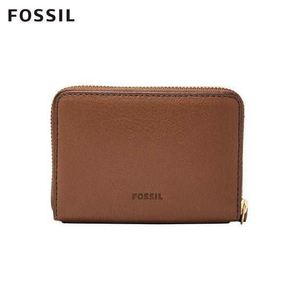 FOSSIL FIONA 咖啡色金釦設計照片零錢短夾 SL7702200