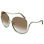【Chloe' 蔻依】CE125S-760個性金屬大框太陽眼鏡(金框漸層棕鏡面)