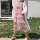 網紗裙 夏季新款軟妹仙女蛋糕裙高腰層層網紗半身裙長裙女裝 WE2748『優童屋』