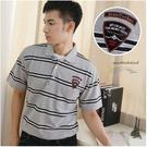 【大盤大】(P22873) 男 口袋短袖上衣 橫條紋POLO衫 台灣製 徽章 繡花休閒棉衫 辦公室【剩M和L號】