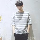 夏裝季日系條紋寬鬆韓版體恤7七分袖男士短袖t恤純棉潮流衣服 米娜小鋪