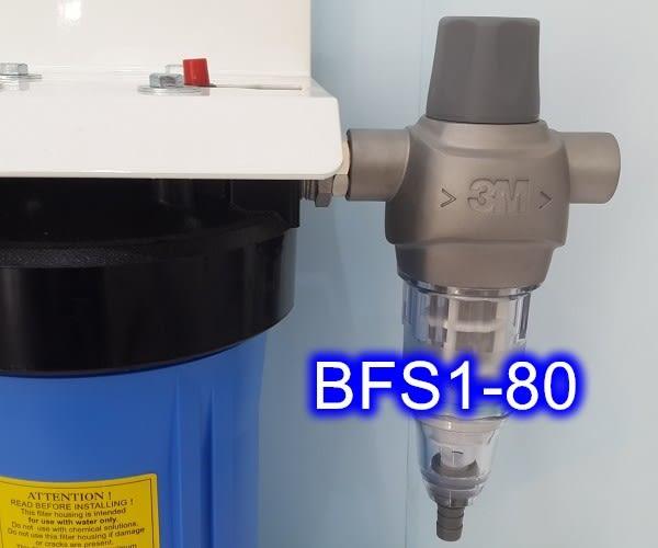 3M BFS1-80反洗式 + 全戶過濾淨水器:10吋大胖二道水塔濾水器組-白色烤漆吊掛型 → 優惠價$13900