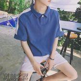 夏季bf風休閒翻領短袖T恤男潮青少年港風情侶韓版寬鬆半袖polo衫【叢林之家】