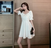 禮服 小香風泡泡袖白色洋裝女夏2020新款宴會氣質法式晚禮服小白裙子