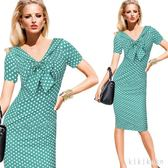 歐洲站歐美時尚熱賣洋裝V領蝴蝶結短袖OL修身鉛筆包臀連衣裙  AB5206  【KIKIKOKO】
