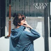 Queen Shop【01095978】條紋連帽雙口袋抽繩棉T 兩色售*預購*