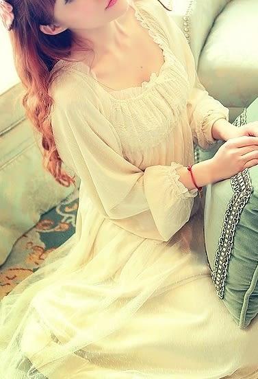 超仙美田園風清新公主甜美性感睡裙牛奶絲白純情睡衣套裝-111900570