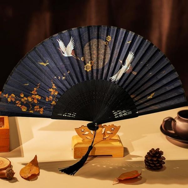 扇子折扇中國風古風女夏季跳舞舞蹈日式小復古折疊古典古裝流蘇布 怦然新品