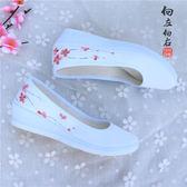 增高旗袍單鞋白鞋手繪復古中國風布鞋女