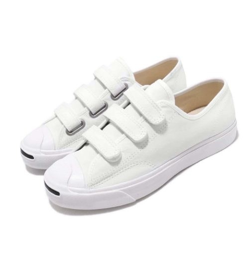 CONVERSE-白色魔鬼氈 男女款開口笑低筒鞋 Jack Purcell-NO.164601C