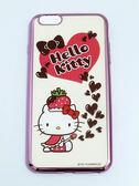 正版授權 HELLO KITTY Apple iPhone 6 Plus/iPhone 6S Plus(5.5吋) 軟式手機殼 電鍍彩繪系列 草莓帽