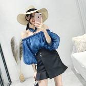 雪紡衫女春夏2018新款韓版寬鬆一字肩上衣打底衫
