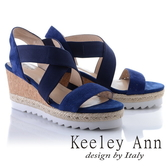 2018春夏_Keeley Ann休閒假期~交叉設計真皮楔型涼鞋(藍色) -Ann系列