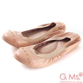 G.Ms. 氣質金色鉚釘全真皮微坡跟娃娃鞋-魅力粉