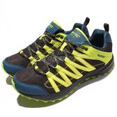 HI-TEC 越野慢跑鞋 Sensor Trail Lite 灰黑 螢光黃 藍 輕量戶外運動鞋 男鞋 【PUMP306】 O005000025