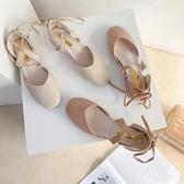 網紅包頭涼鞋女2020夏季新款仙女風配裙子的綁帶粗跟鞋ins潮女鞋 後街五號