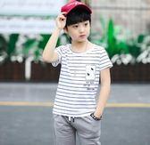 夏季2018新款時尚百搭帥氣中大童短袖兩件套運動童裝 js625『科炫3C』