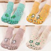 五指襪女純棉秋冬款中筒可愛卡通分腳趾襪全棉吸汗防臭五趾襪5雙 韓幕精品