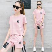 2018夏季新款韓版時尚短袖短褲休閒運動服套裝 DN9966【Pink中大尺碼】