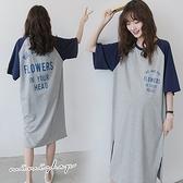 孕婦裝 MIMI別走【P521511】幸福慵懶 優質撞色字母連身裙 孕婦洋裝