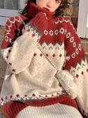秋冬新款聖誕高領紅色毛衣女慵懶風復古日系寬鬆套頭針織上衣 【聖誕節狂歡購】