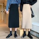 針織半身裙女秋季冬開叉一步裙2020新款過膝長裙高腰顯瘦包臀裙子 快速出貨
