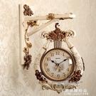 歐式雙面掛鐘客廳創意靜音兩面鐘表現代復古美式時尚家用時鐘豎琴 果果輕時尚