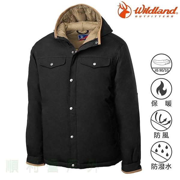 荒野WILDLAND 男款鵝絨防潑水極暖外套 0A62998 黑色 羽絨衣 羽絨外套 保暖外套 防寒外套 OUTDOOR NICE