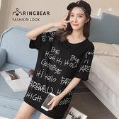 棉T--時尚運動個性風字母印花寬鬆修身開叉圓領短袖T恤(黑L-3L)-T337眼圈熊中大尺碼