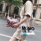 時尚字母透明大包包女2018夏季新款百搭單肩包韓版鏈條斜挎托特包 st1376『伊人雅舍』
