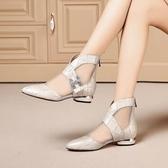 紓困振興 低跟涼靴女春夏新款尖頭平底網紗短靴女鏤空皮帶扣包頭涼鞋女 新北購物城
