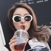 現貨-韓版明星同款ulzzang原宿復古外星人橢圓形太陽眼鏡墨鏡黑白兩色299
