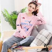 韓國睡衣女純棉長袖家居服大尺碼寬鬆清新學生休閒套裝女