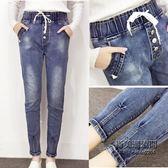 大尺碼牛仔褲高腰百搭鬆緊腰小腳女褲子XL-XXXXXL大尺碼女