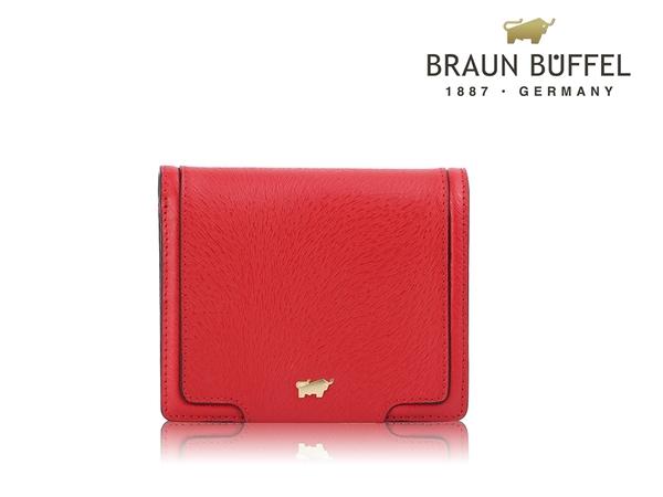 【全新品公司貨】BRAUN BUFFEL SUPERSTAR紅色可放零錢短夾【寧寧小舖/台中30年老店】BF674-401-1