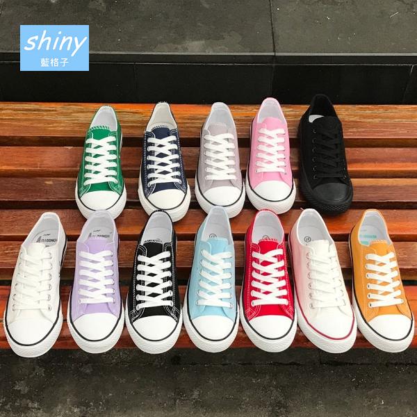 【V9210】shiny藍格子-時尚潮流.百搭多色糖果彩色系帆布鞋