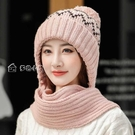 圍巾帽子新款毛線帽女韓版潮百搭圍巾一體帽冬天秋冬季圍脖連體保暖針織帽 快速出貨