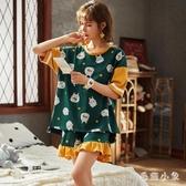 睡衣女夏季棉質可愛卡通休閒大碼全棉家居服薄款短袖少女兩件套裝 LR19473『毛菇小象』