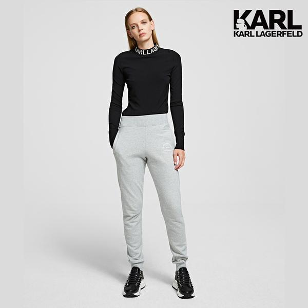 (微解封散步推)【KARL LAGERFELD】KARL地址LOGO運動褲-灰 (原廠公司貨)