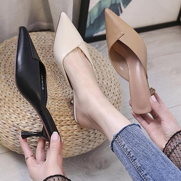 尖頭半拖鞋女夏2021新款時尚細跟包頭涼拖高跟網紅穆勒拖鞋女外穿 8號店