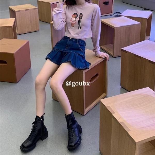 牛仔半身裙女2021年夏季新款韓版高腰顯瘦百褶裙百搭短款a字裙子 夢幻小鎮「快速出貨」