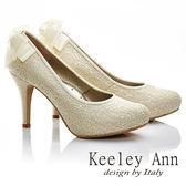 ★2015秋冬★Keeley Ann 新娘物語~溫柔線珠蝴蝶結真皮軟墊高跟鞋(金色)