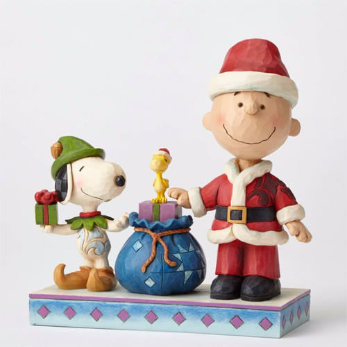 《Enesco精品雕塑》SNOOPY與查理布朗聖誕老公公塑像-Holiday Helpers★funbox生活用品★_EN86167