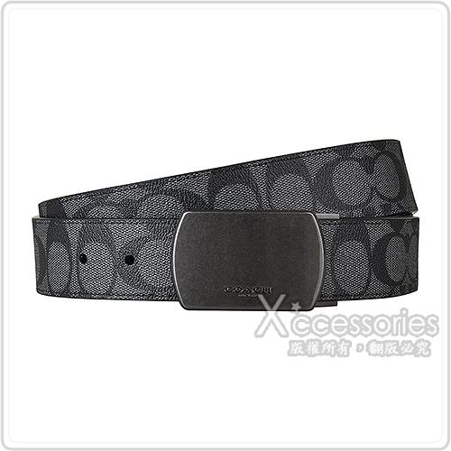 展示品COACH PLAQUE壓印LOGO滿版大C印花設計PVC釦式皮帶(炭灰)