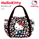 asdfkitty可愛家-KITTY x MANUFATTO 黑色豹紋大容量帆布手提袋/托特包-日本正版商品